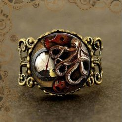 Bague steampunk calamar engrenages