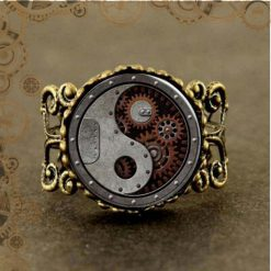 Bague steampunk engrenage reglable face