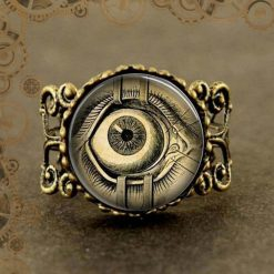 Bague steampunk montre factice oeil du mal