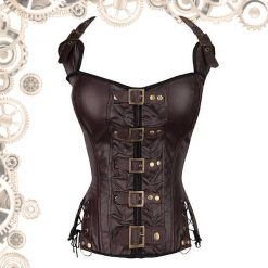Corset marron attaches bronze face