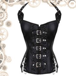 Corset noir attaches argent face
