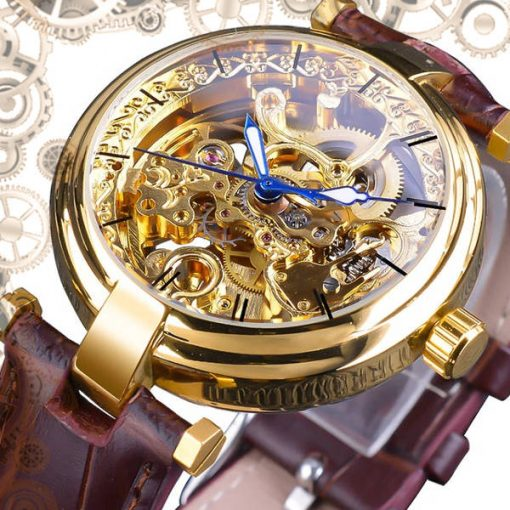 Montre automatique steampunk or cadran Or