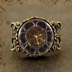 bague steampunk montre factice