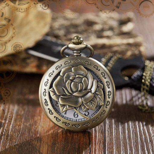 montre gousset steampunk roses echancree face