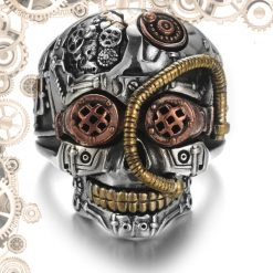 Bague steampunk tete de mort engrenages