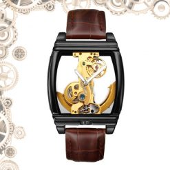 Montre steampunk transparente marron argent