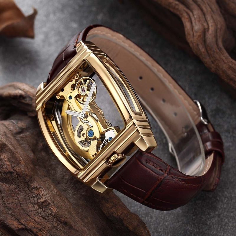 Montre steampunk transparente marron or 2