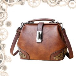 Sac steampunk cuir et metal marron