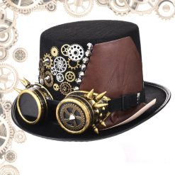 chapeau steampunk homme goggles engrenage face