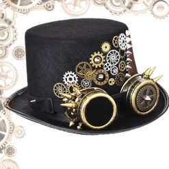 chapeau steampunk homme goggles engrenage gauche