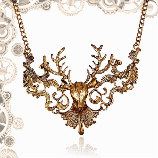 collier cerf steampunk or
