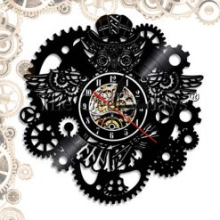 horloge steampunk disque vinyl engrenages