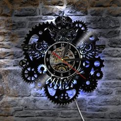 horloge steampunk disque vinyl engrenages led