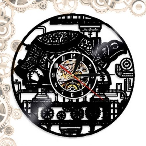 horloge steampunk disque vinyl machine