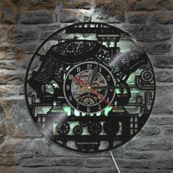 horloge steampunk disque vinyl machine led