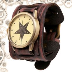 montre bracelet steampunk marron croix orientation