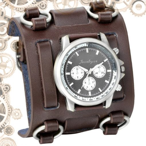 montre steampunk bracelet de force Marron Argent