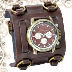 montre steampunk bracelet de force Marron bronze
