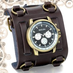 montre steampunk bracelet de force Marron bronze fond noir