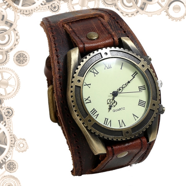 montre steampunk homme antique marron vieilli bronze
