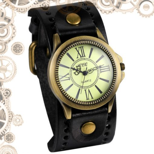 montre steampunk homme bande large marron