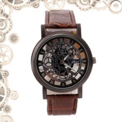 montre steampunk transparente engrenages marron noire