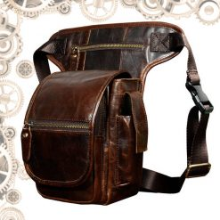 sac en cuir homme steampunk marron brillant