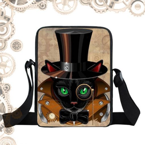 Sac steampunk Chat lunettes