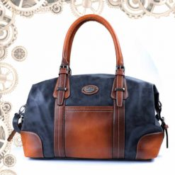 sac cuir bandoulière steampunk marron face