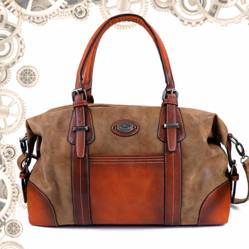 sac cuir bandoulière steampunk orange face